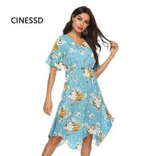 CINESSD V Neck Floral Print Dress Women A Line Striped Asymmetrical Short Polka Dot Bohemian Chiffon Beach Dress Casual Sundress