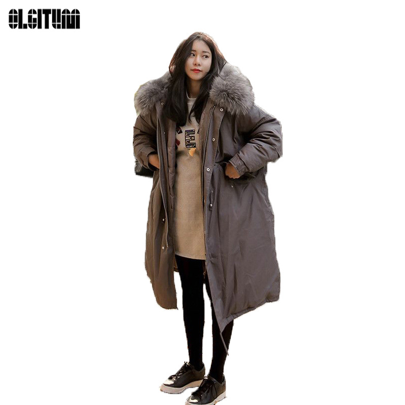 2017 Fashion Women Large Fur Coat Winter Jacket Women Thicken Warm Padded Cotton Parkas Army Green Long Coat Military ParkaCC026 winter jacket female parkas hooded fur collar long down cotton jacket thicken warm cotton padded women coat plus size 3xl k450