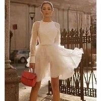 Cosmicchic с длинным рукавом белый кружевное короткое платье круглый средства ухода за кожей Шеи Элегантный торт мини платье Винтаж шелковое пы