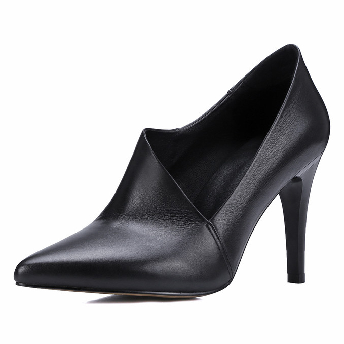 2017 Spring/Autumn New Genuine Leather 9cm High Heels handmade Sexy Pumps ladies Fashion Black Pointed Toe Party shoes for women new spring autumn women shoes pointed toe high quality brand fashion ol dress womens flats ladies shoes black blue pink gray