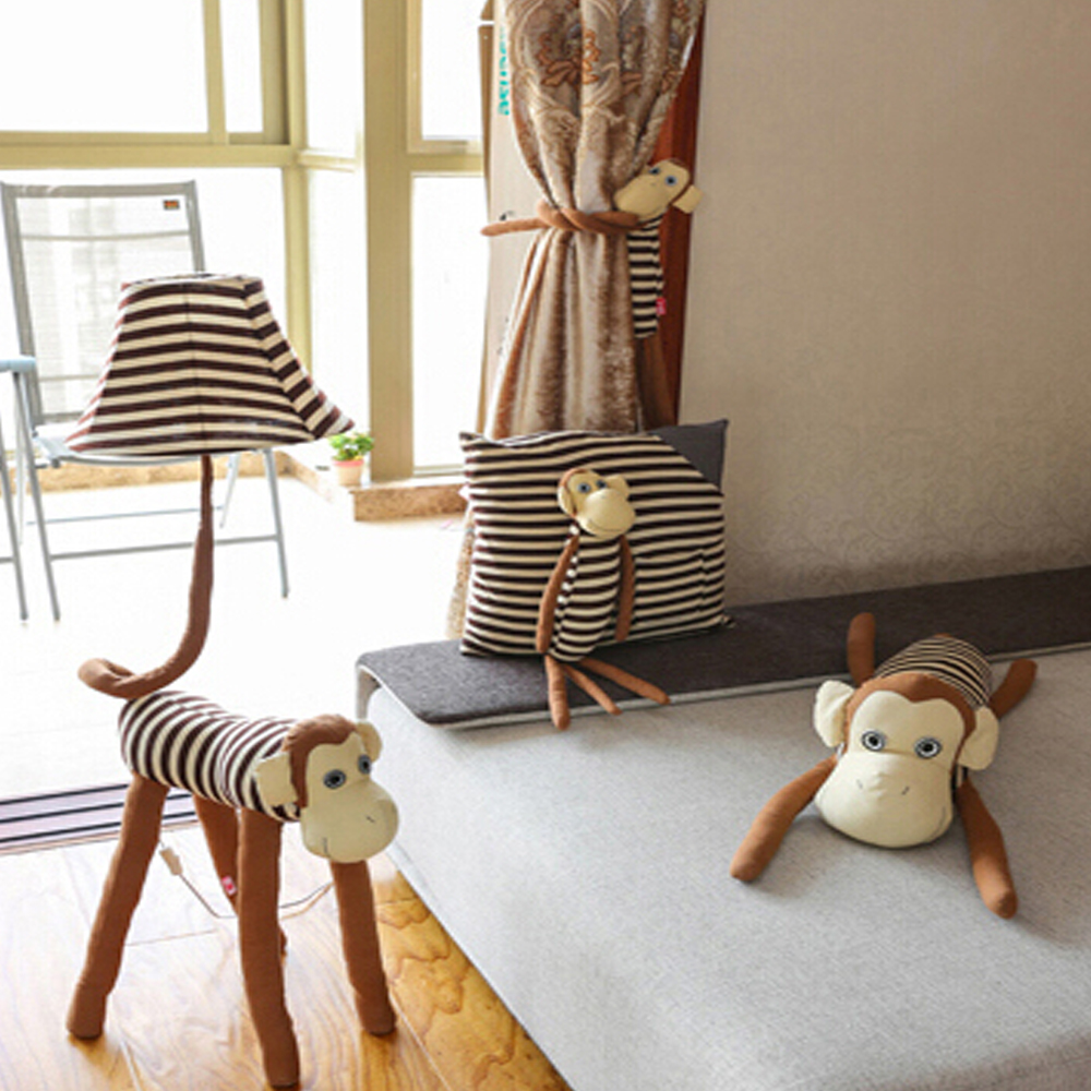 Tripod floor lamp in living room - Children Room Cute Monkey Led Bulb E27 Kids Floor Lamp 110v 220v Fabric Lampshade Tripod Floor Lamps For Living Room Tripod