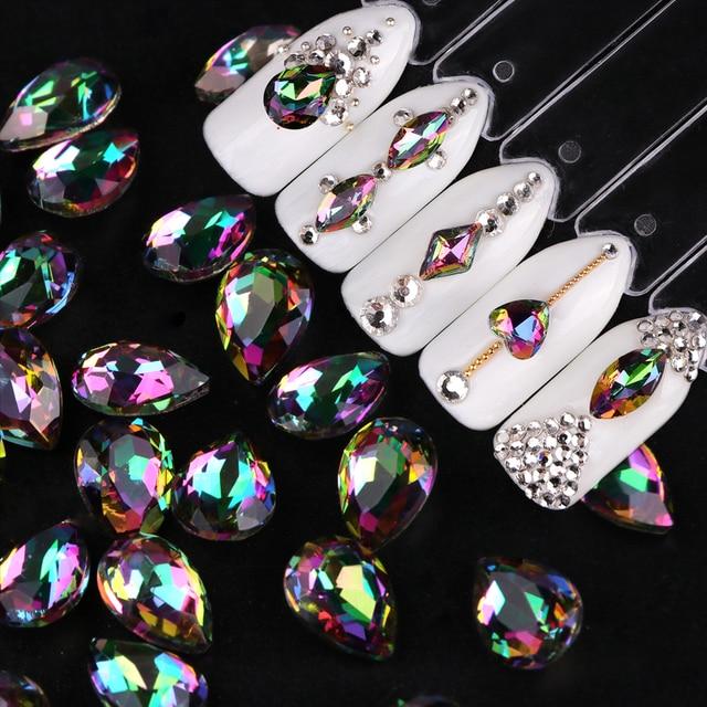 10pcs Nail Rhinestones For Nails Water Drop Oval Flame Crystal Nail