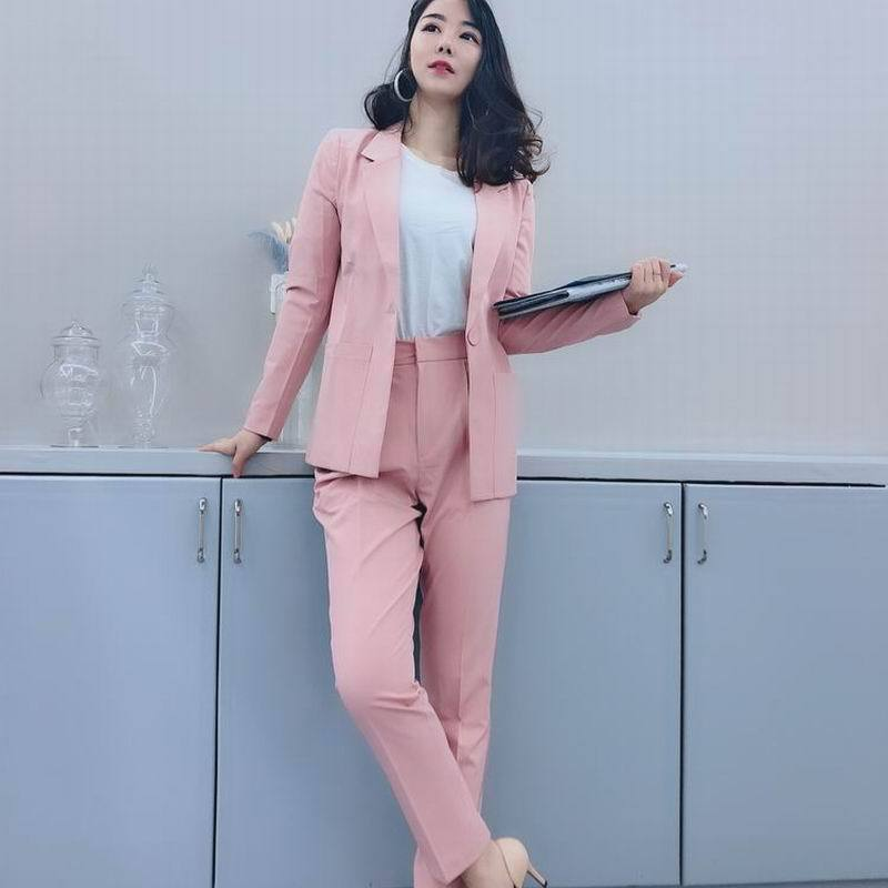 Small Suit Jacket Female  Spring And Autumn Suit Women Tide Pink Casual Olprofessional Overalls Suit Two-Piece Suit