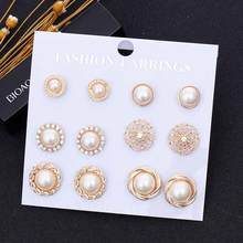 FAMSHIN 6 Pairs/Set Gold Color Flower Hollow Stud Earring Vintage Crystal Simulated Pearl Earrings Set For Women Wedding Jewelry