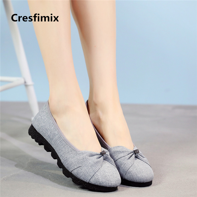 Cresfimix femmes appartements women fashion grey flat shoes lady cute comfortable plus size dance shoes staff work shoes a2020 cresfimix femmes appartements women fashion comfortable mesh breathable flat shoes lady cute beige bow tie shoes zapatos b2859