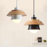1 piece Nordic minimalist modern dining room restaurant cafe pendant lamp droplight wood meal hanging bar study office wood lamp