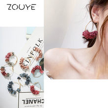 ZOUYE Round Cotton Flowers Ear Ring Simple Elegant Eardrop Fairy Lovely Cute Romantic Earrings Fashion Jewelry Earrings(China)