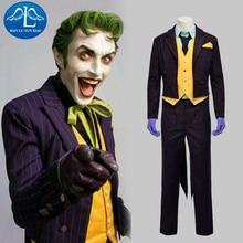 2017 New Mens Batman Arkham Asylum Joker Cosplay Costume For Man Halloween Custom Made Hot Sale