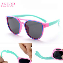 2019 new fashion polarized childrens sunglasses pilot silicone UV400 glasses classic retro brand design soft