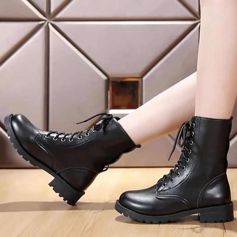 Botas de tobillo para mujer negro talla grande 4,5-10 botas de moto botas de cuero para mujer primavera