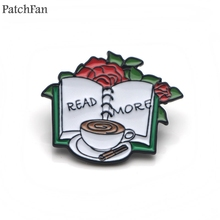 Patchfan Read more book rose coffee Zinc tie Pins backpack clothes brooches for men women hat decoration badges medals A1363