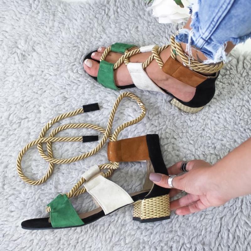 HTB1MH8yXRKw3KVjSZTEq6AuRpXaz Laamei 2019 New  Espadrilles Women Sandals Heel Pointed Fish Mouth Fashion Sandals Hemp Rope Lace Up Platform Sandal