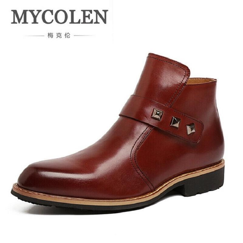 MYCOLEN Brand Men High Quality Cow Split Leather Ankle Boots Male Winter Leisure Party Retro Motorcycle Shoes Men Rivet Boot northmarch brand ankle snow boots men shoes genuine leather winter fashion cow motocycle casual boot male high top flat botas