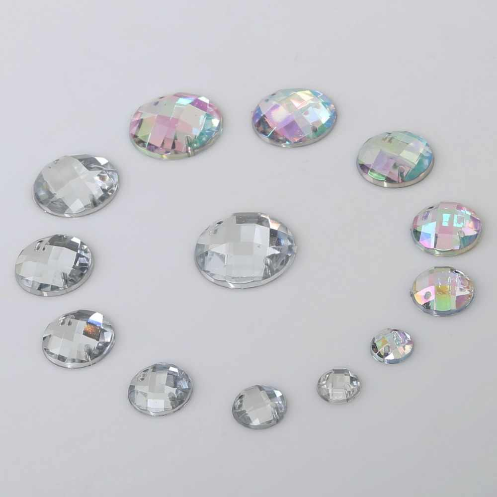 100pcs 8-20mm Sewing Crystals Clear AB Flatback Rhinestones Sew On Acrylic  Strass Round Crystal ca4c848e0550