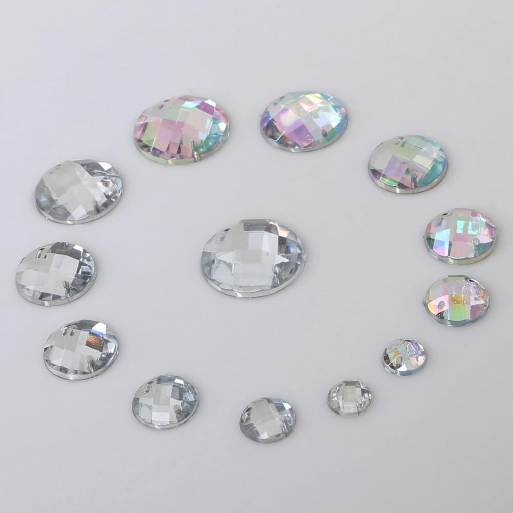 Мм 100 шт. 8-20 мм Швейные кристаллы прозрачные AB Flatback Стразы акриловые нашивки Стразы круглые хрустальные камни для DIY Одежда ручной работы