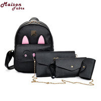 New Backpack Female 4Pcs Women Pattern Leather Backpack Crossbody Bag Messenger Bag Card Package Cartoon Backpacks