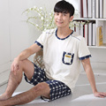 Summer men short - sleeved pajamas men 's cotton men' s cotton pajamas