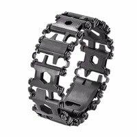 29 IN 1 Stainless Steel Multi Tool Bracelets Camping Hiking Multi Function Bracelet Black Screwdriver Outdoor