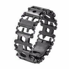 29 IN 1 Stainless Steel Multi Tool Bracelets Camping Hiking Multi-function Bracelet Black Screwdriver Outdoor Emergency Kit