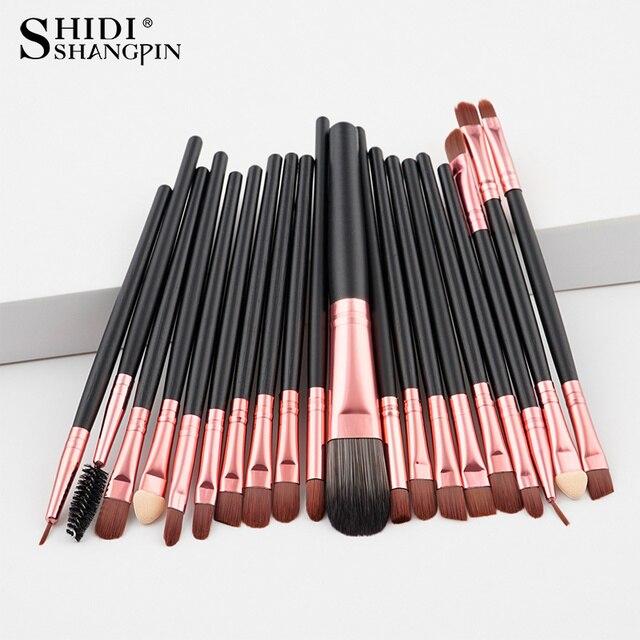20 PS cbrown/oro rosa maquillaje pincel kit de herramientas Eye Liner natural-pelo sintético cepillos de belleza buena calidad herramientas de maquillaje cepillos