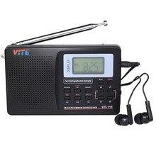 VITE VT-111 DSP Radio Estéreo FM/MW/SW Radio estación de Radio Multibanda Receptor Portátil Reloj y Alarma Negro Mejor F9201