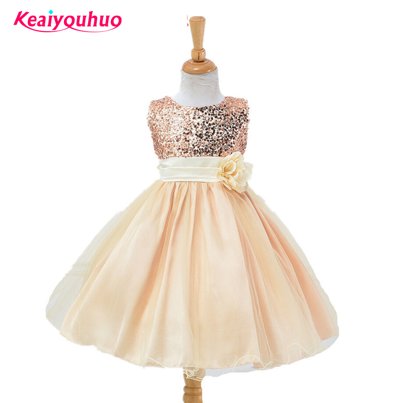Flower Girl Baby Clothes Dresses Xmas Wedding Bridesmaid Party Formal Sequin Ball Gown Baby Girls Dress 1 year birthday wear 2017 new flower embroidery girl dresses pageant party wedding bridesmaid ball gown prom princess long dress girl clothes