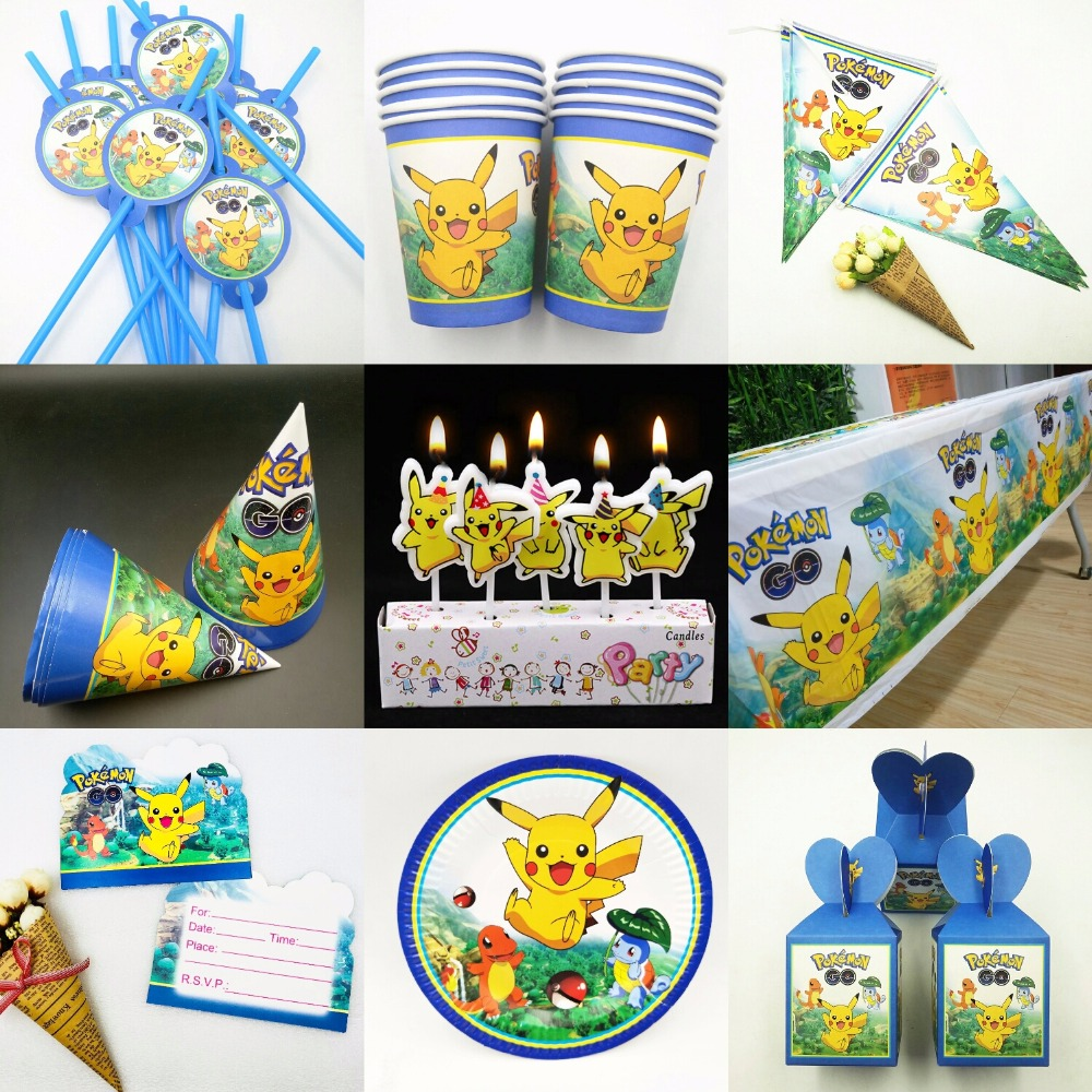 hot ! pokemon figures Birthday Party tablecloth Paper Napkin Candy Box Blowout Candles Cups Gift Bag Knife Fork And Spoon Theme