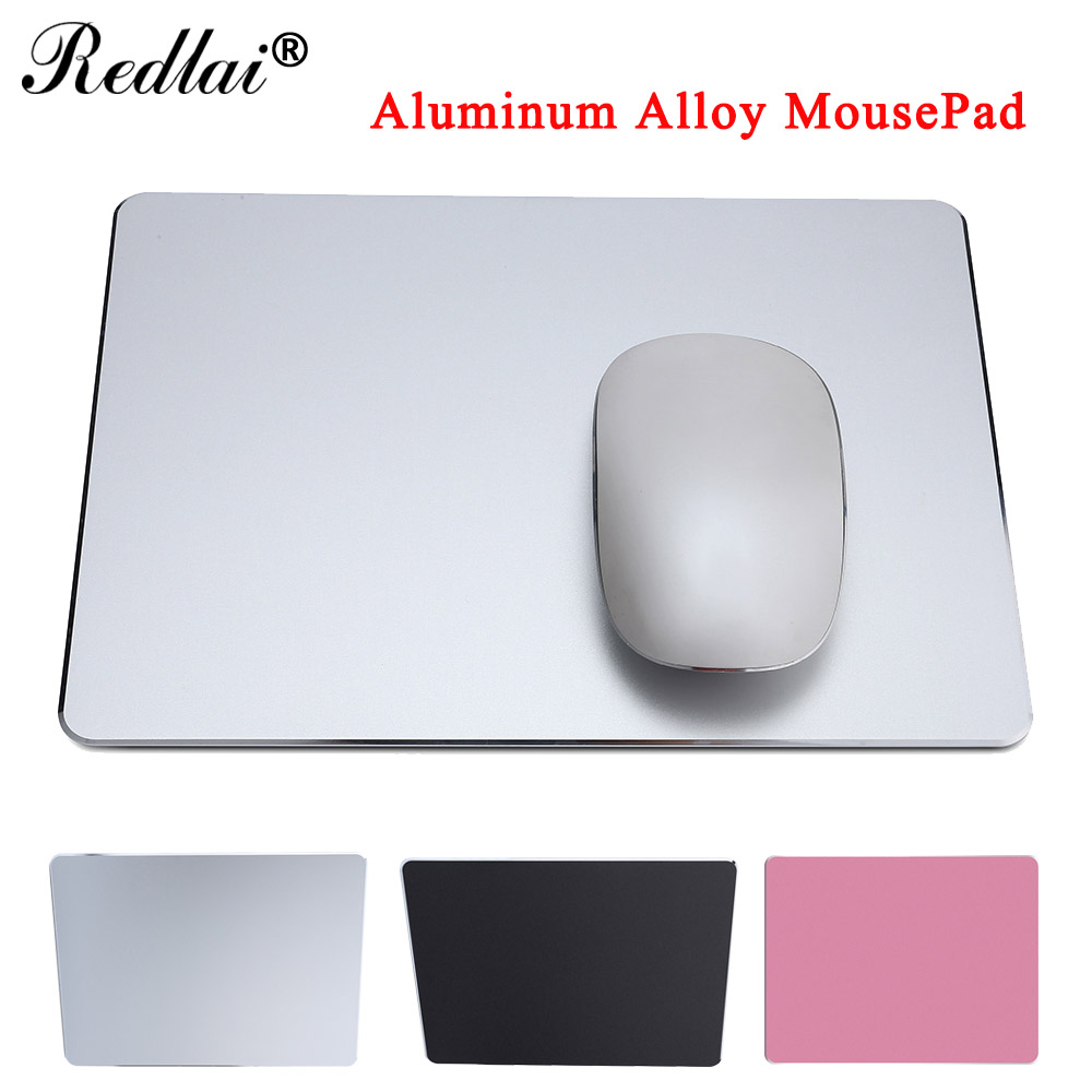 Redlai Aluminum Alloy Pad with Anti-slip Rubber Bottom Mouse Pad for MAC /PC Waterproof Surface Mousepad Gaming Mat Mouse