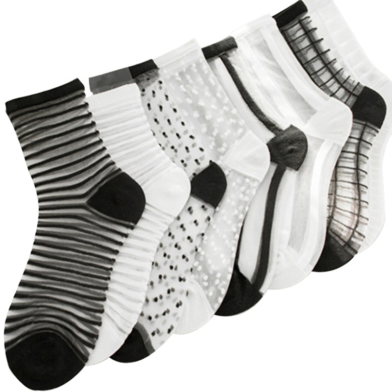 10Pairs//bag Women/'s Sock Breathable Black Skin Color Pure Dot Girls Solid Summer
