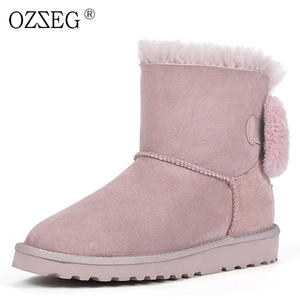 bcfe8e03cb3 OZZEG female genuine leather warm fur snow boot shoe women