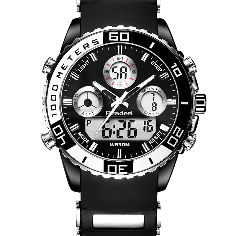 все цены на Top Luxury Brand Quartz Men Sport Watches Men's Quartz Rubber LED Analog Clock Man Military Waterproof Watch relogio masculino онлайн
