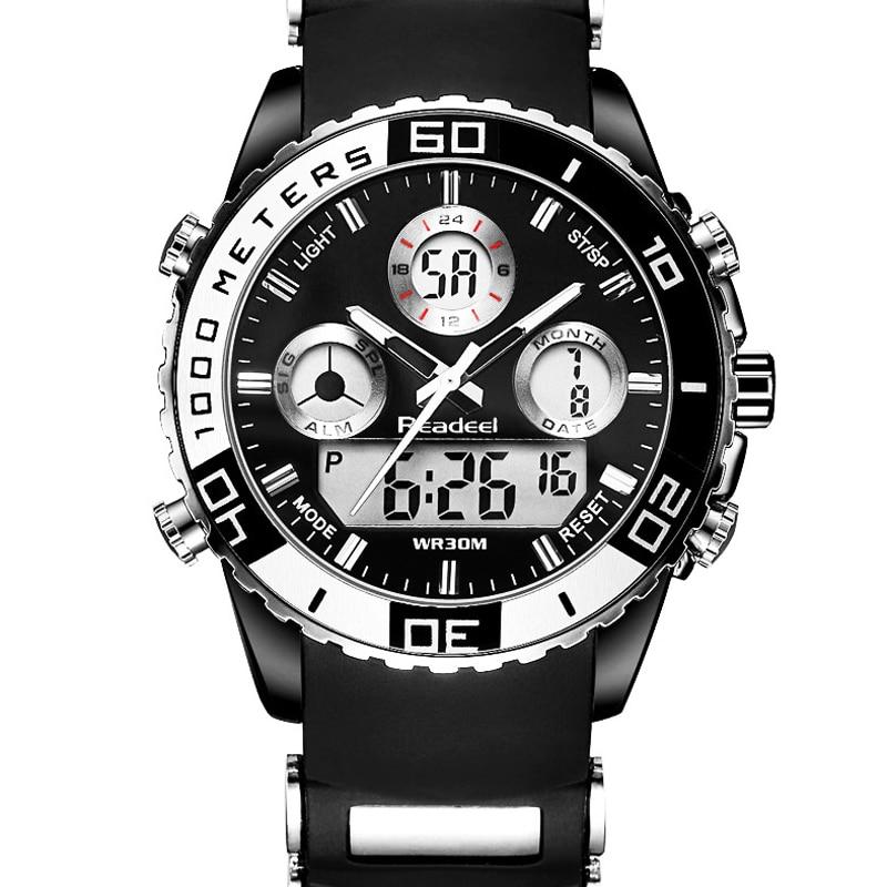 Top marca de lujo hombres de cuarzo deporte relojes de cuarzo caucho LED reloj analógico hombre Militar reloj impermeable Relogio Masculino