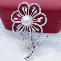 Flower Hijab Brooches Women Trendy Jewelry Brooch Imitation Pearl Inlay Brooches And Pins Scarf Scarves Buckle