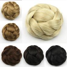 New Synthetic Hairpieces Clip In Bun Hair Chignon Braided Hair Bun Wraps Extensions Toupee Roller Bun Hairpiece High Fashion