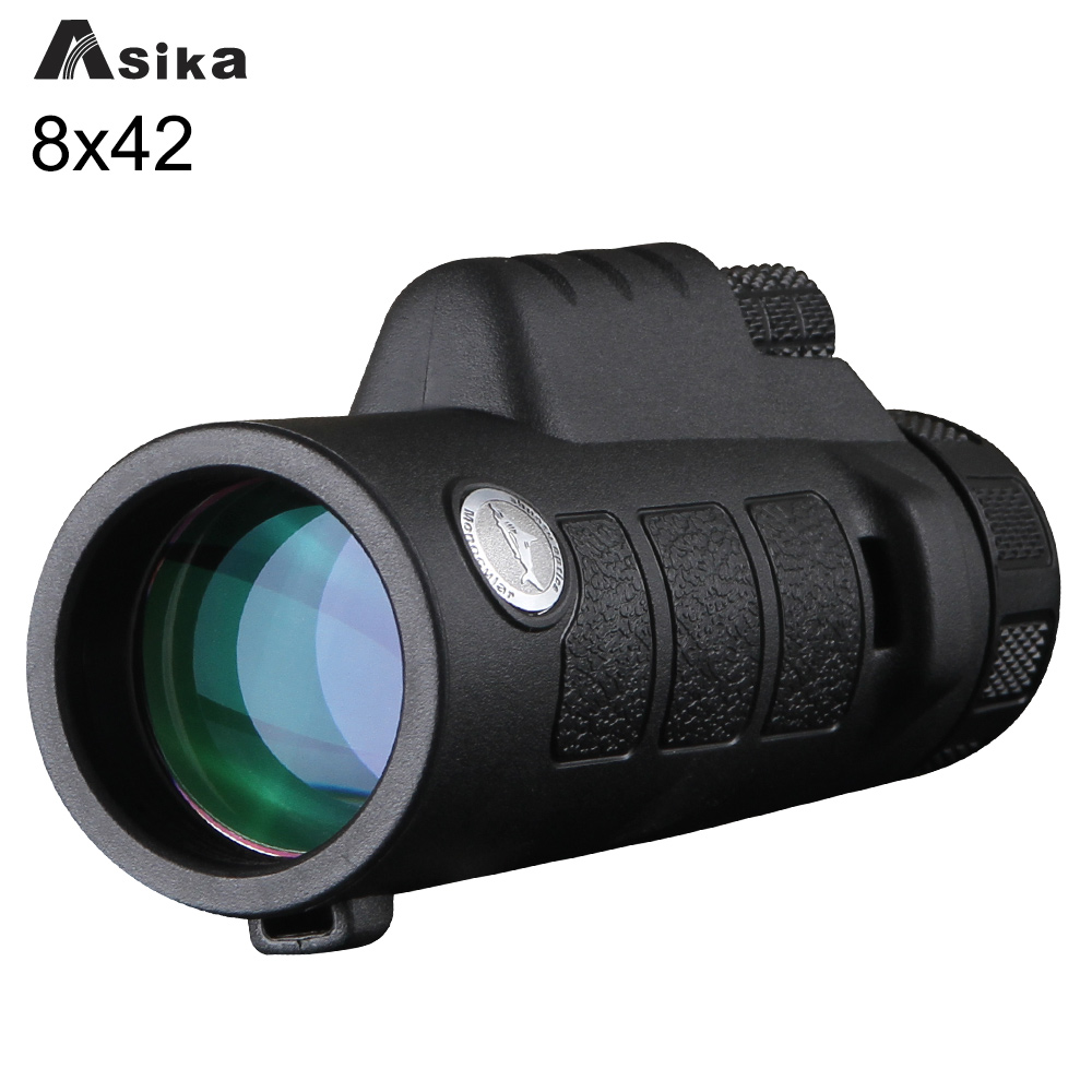 ФОТО Telescope Monocular 8x42 Green/Black With Bak4 Prism Asika Waterproof Monocular Telescope Focuser for Camping Hunting Goods