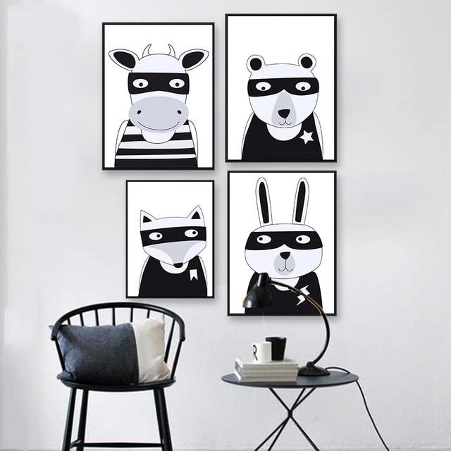 Nordique Art Kawaii Animal Ours Renard Lapin Toile Affiche Peinture