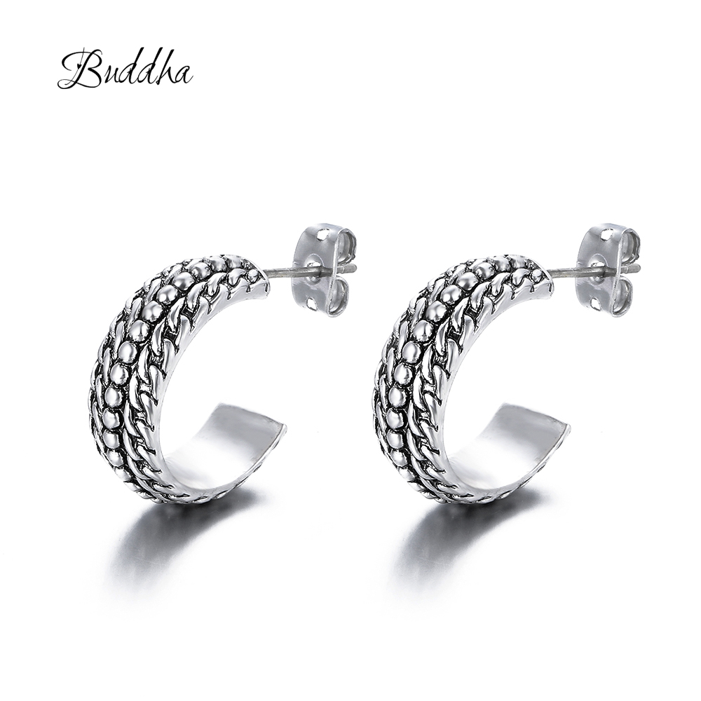 New Fashion Jewelry Classic Style Ancient Silver Buddha Earrings Geometric Round Circle Stud Earrings Best Gift for Women GirlNew Fashion Jewelry Classic Style Ancient Silver Buddha Earrings Geometric Round Circle Stud Earrings Best Gift for Women Girl