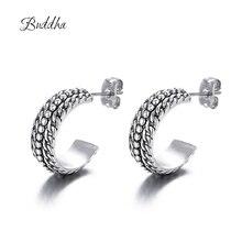 New Fashion Jewelry Classic Style Ancient Silver Buddha Earrings Geometric Round Circle St