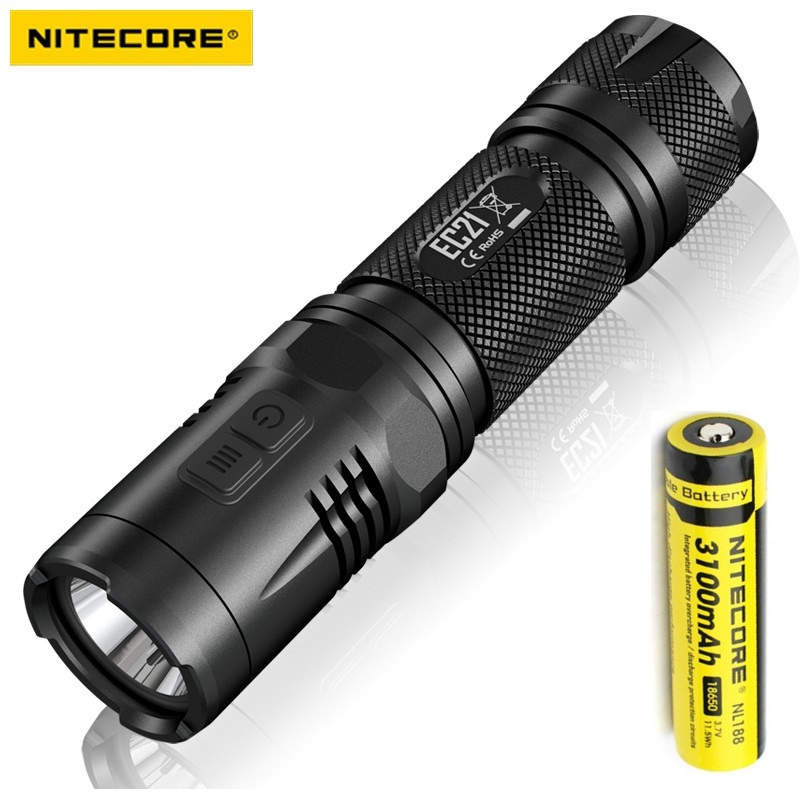 Nitecore EC21 LED Flashlight Cree XM-G2 R5 460 Lumens 5 Mode With Red Light Waterproof for Camping +1pcs 18650 Battery new arrival nitecore ec4sw neutral white beam cree mt g2 led 2000 lumens 18650 handheld searchlight flashlight