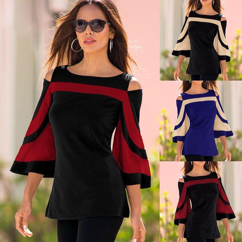 Sexy Fashion T-shirts 2019 off Shoulder Tops Stripes Shirts Harajuku Geek Streetwear Skirt Korean Style Clothes Korean Style