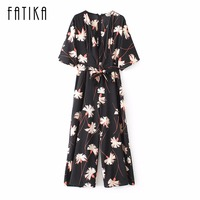FATIKA 2017 Women Fashion Printed Batwing Sleeve Jumpsuits Ladies V Neck Playsuit Long Summer Casual Jumpsuits