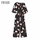 FATIKA 2017 Women Fashion Printed Batwing Sleeve Jumpsuits Ladies V Neck Playsuit Long Summer Casual Jumpsuits With Sashes