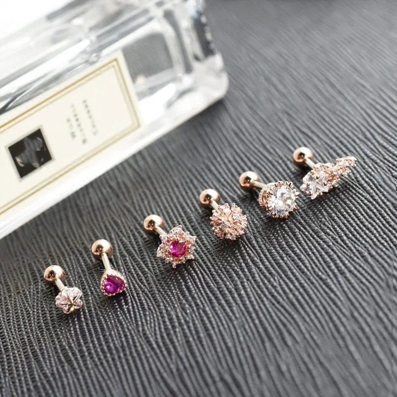 2019 new nail body piercing jewelry Korean fashion screw drill earrings perforation accessories tools in Rhinestones Decorations from Beauty Health
