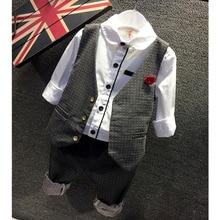 Дети свадьба пиджак мода показать жилет костюм хлопок малыши установили осень популярные бутик-корейской стиль детская одежда