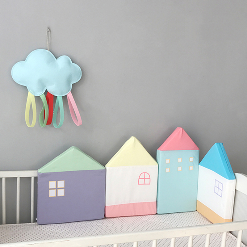 Baby Bed Bumper House Macaron Newborn Bumpers Baby Room Crib Cotton Infant Comfortable Baby Bumper 4pcs/Set Bedding setBaby Bed Bumper House Macaron Newborn Bumpers Baby Room Crib Cotton Infant Comfortable Baby Bumper 4pcs/Set Bedding set