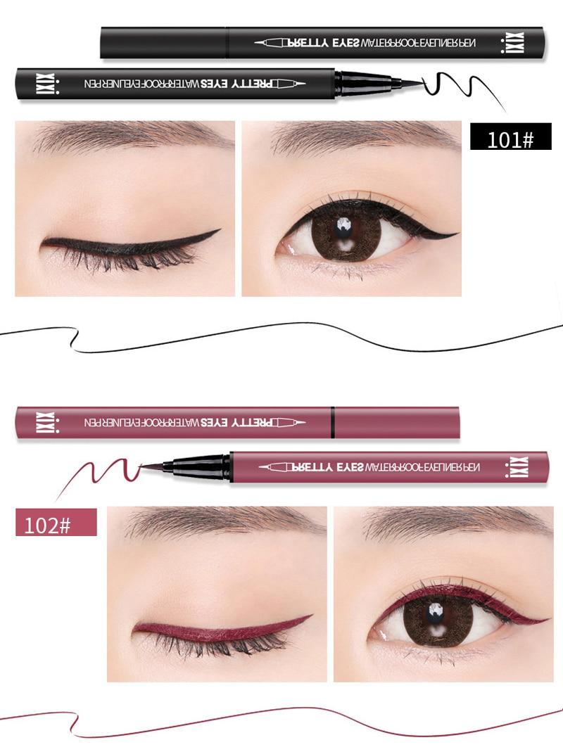 XIXI Brand Eye Liner Cosmetics Long Lasting Waterproof Pigment Natural Black Red BrownColor Pencil Eyeliner Makeup