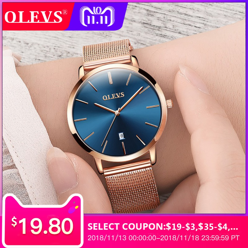 OLEVS women watches Luxury Brand ultra thin watch women Rose gold Milan steel quartz watch leather Casual clock Relogio feminino brand julius women watches ultra thin leather strap watch band analog display quartz wristwatch luxury watches relogio feminino