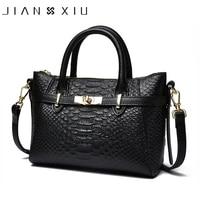 JIANXIU Brand Women Genuine Leather Handbags Famous Brands Handbag Cow Leather Crocodile Texture Messenger Shoulder Bags