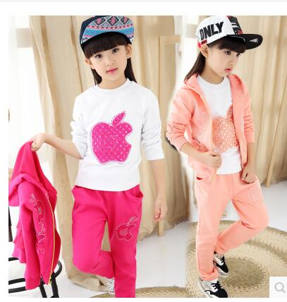 ФОТО Children 's suits 2016 new children' s sports three - piece spring and autumn large children 's clothing children' s clothes