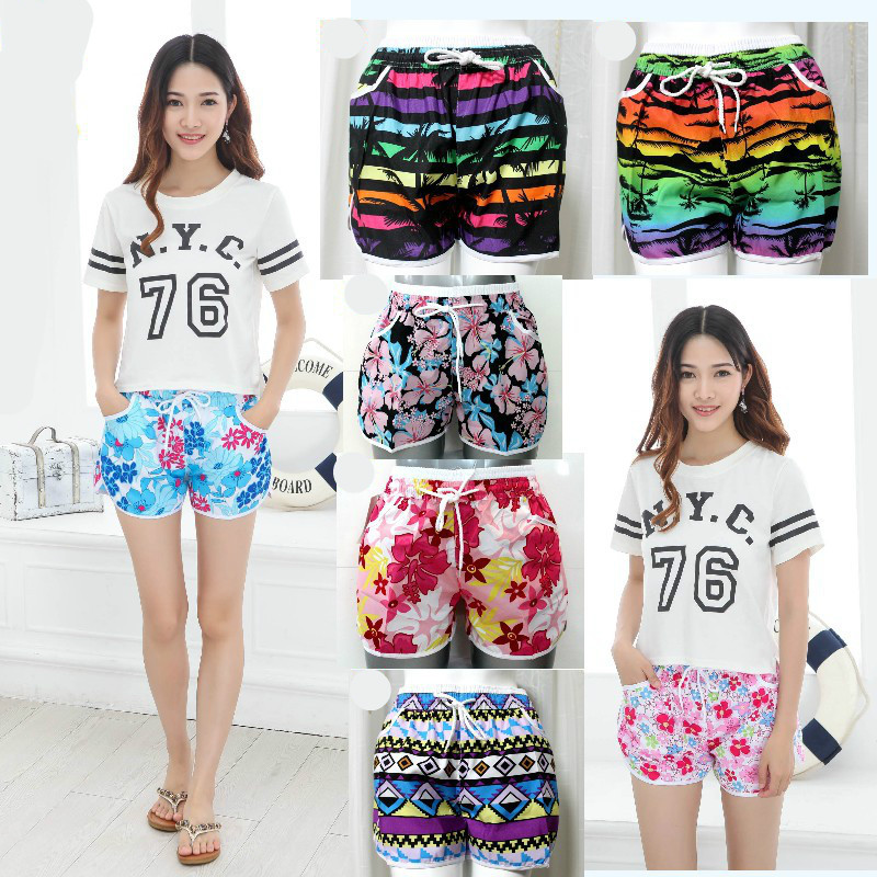 Summer women's sports shorts beach shorts Bathing trunks Beach pants Beach shorts Multicolor printing men s flower printed loose lace up fifth pants beach shorts